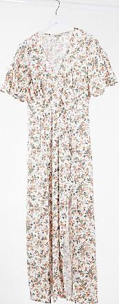 Miss Selfridge angel sleeve maxi dress in peach-Cream