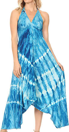 Sakkas 19457 - Sol Womens Sleeveless Spaghetti Strap V-Neck Maxi Summer Casual Dress Boho - Turquoise - OS