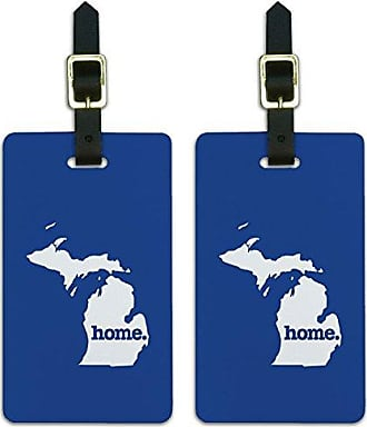 Graphics & More Graphics & More Michigan Mi Home State Luggage Suitcase Id Tags-Solid Navy Blue, White