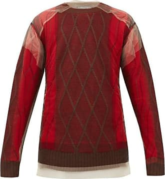 Y / Project Tulle-overlay Argyle Wool Sweater - Mens - Red