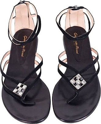 0167b5f9a241 Gianvito Rossi Black Jeweled Sueded Strap Flat Thong Sandals