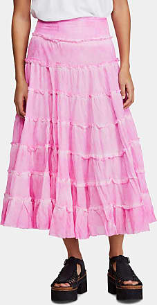 Free People Womens Pink Tea-Length Peasant Skirt Size: L