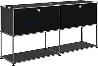 USM Sideboard mit 2 Klapptüren oben H74cm - graphitschwarz RAL 9011/152x37x74cm