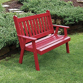 A & L Furniture A & L Furniture Yellow Pine Traditional English Garden Bench, 4, Linden Ivory Leaf Stain