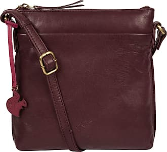 Pure Luxuries London Conkca London Nikita Womens 22cm Biodegradable Leather Cross Body Bag with Zip Over Top, 100% Cotton Lining and Adjustable Slimline Leather Strap in P
