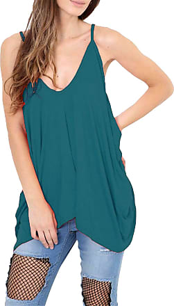 Re Tech UK Womens Ladies V-Neck Baggy Lagenlook Cami Vest Top Strappy Plain Oversize Loose Hanky Casual (UK 20-22 XXL (Plus Size), Teal)