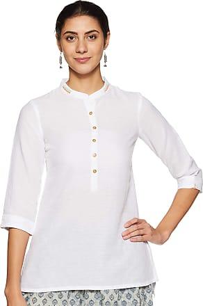 Biba Womens Cotton Straight Kurta (CORE14627WHITE_ Wht_ M (34))