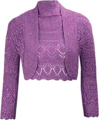 Momo & Ayat Fashions Ladies Girls Metallic Lurex Cropped Bolero Shrug UK Size 8-14 (M/L (UK 12-4), Purple)