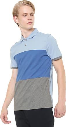 f2d09c7f5 Calvin Klein Camisa Polo Calvin Klein Reta Listra Azul Cinza
