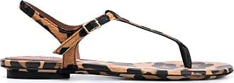 L'autre Chose Sandália flat com estampa de leopardo - Marrom