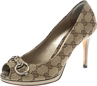c8f92901b4a Gucci Beige Gg Canvas And Leather New Hollywood Horsebit Peep Toe Pumps Size  37