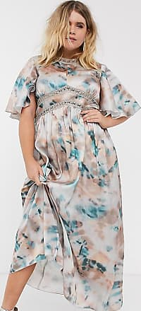 Little Mistress lace insert maxi dress in marble print-Multi