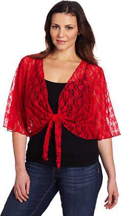 Star Vixen Womens Plus-Size 3//4 Sleeve Tiefront Shrug