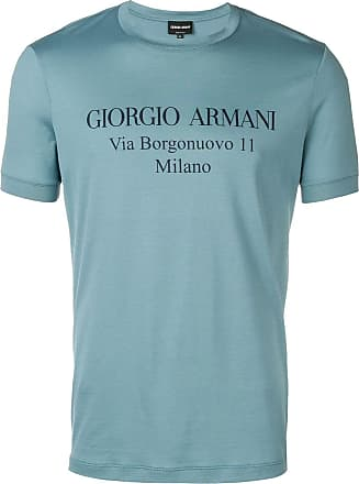 Giorgio Armani logo print T-shirt - Blue
