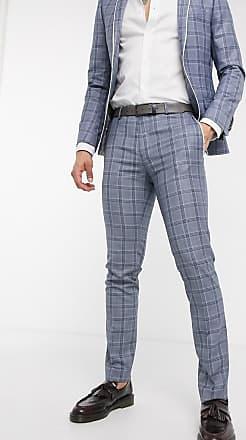 Twisted Tailor Pantaloni da abito skinny blu a quadri con profili a contrasto-Navy