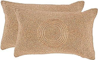 Safavieh Collection Cleopatra Old Gold Throw Pillows (12 x 18) (Set of 2)