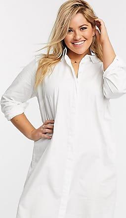 Asos Curve ASOS DESIGN Curve - Vestito camicia corto in cotone bianco