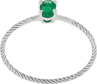 Wouters & Hendrix Emerald rope solitaire ring - Metallic