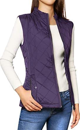 Allegra K Womens Gilet Jacket Stand Collar Lightweight Quilted Zip Vest Purple 12