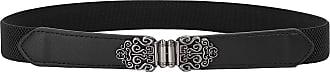 Belle Poque Women Vintage Slim Fit Mental Belt Solid Color Waistband Black L