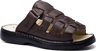 Doctor Shoes Antistaffa Chinelo Masculino 323 em Couro Floater Café Doctor Shoes-Café-38
