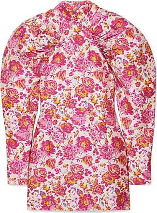 Rotate Minikleid Aus Jacquard Mit Blumenmuster, Raffungen Und Zierknöpfen - Pink