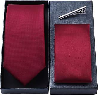 Hisdern Mens Formal Stripe Tie Handkerchief Tie Clip Wedding Party Necktie Pocket Square Set