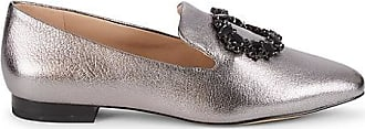 Karl Lagerfeld Noor Embellished Metallic-Leather Loafers