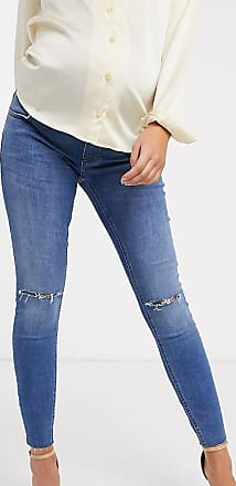 Asos Maternity ASOS DESIGN Maternity Ridley high waisted skinny jeans in mid wash blue with rips with over the bump band