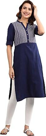 Aurelia Womens Cotton Straight Kurta (19AUA10888-700372_Blue_Small)