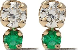 Zoë Chicco Par de brincos em ouro 14k com esmeralda e diamante - YELLOW GOLD