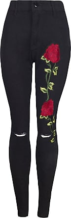 ZhuiKun Skinny Jeans Womens High Waist Embroidered Ripped Stretchy Jeggings Legging Denim Pants Black S