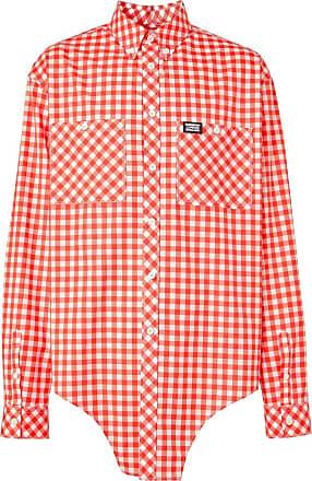 Burberry Camisa xadrez com recortes - Vermelho