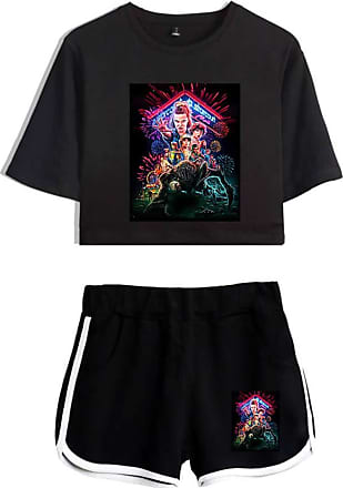 OLIPHEE Girls Stranger Things New Season Character Printed Tracksuits Casual Summer Crop Tops and Shorts T-Shirt Suits Graphic Black-2 XL