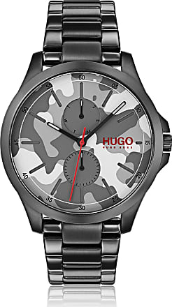 HUGO BOSS Camouflage-dial watch in black-plated stainless steel