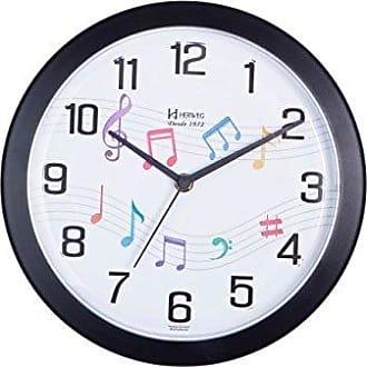 Uhren Herweg RELÓGIO DE PAREDE ANALÓGICO DECORATIVO FUNDO DE NOTA MUSICAL HERWEG PRETO