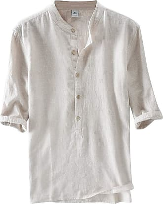 TOMWELL Men Shirts Mandarin Collar Cotton Linen Man Shirt Long Sleeve Summer Style Hawaiian Shirts Military Slim Khaki XS
