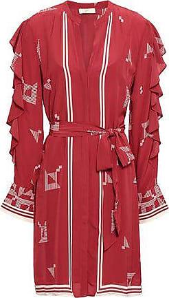 Joie Joie Woman Licia Ruffle-trimmed Printed Crepe De Chine Mini Dress Crimson Size XXS