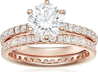 Amazon Collection Rose Gold-Plated Sterling Silver Swarovski Zirconia Ring, Size 7