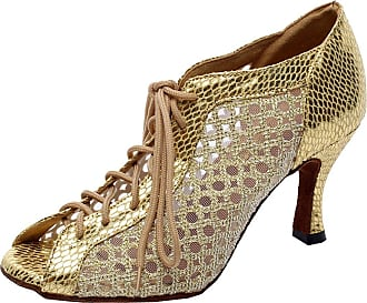 Find Nice Ladies Sexy Ventilate Mid Heel Lace-up Latin Modern Professional Dance-Shoes Gold 5.5 UK