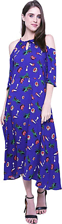 101 Resort Wear Vestido 101 Resort Wear Longo Alças Ombros Vazados Viscose Estampado Fundo Azul