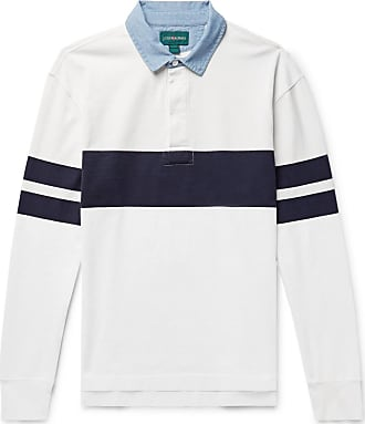 J.crew Chambray-trimmed Striped Cotton-jersey Rugby Shirt - White