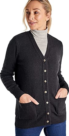 WoolOvers Womens Lambswool V Neck Cardigan Black, M