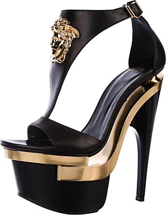 58220ff4636 Versace New Versace Black Leather Triple Platform Gold Medusa Shoes Sandals  It.35 - Us