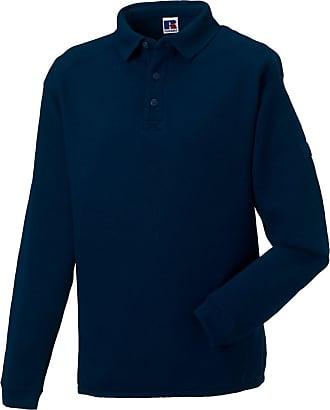 Russell Athletic Russell Mens Polo Sweatshirt Brushed Fleece Heavy Duty Workwear Warm Cotton Rich, (Navy, 3XL)