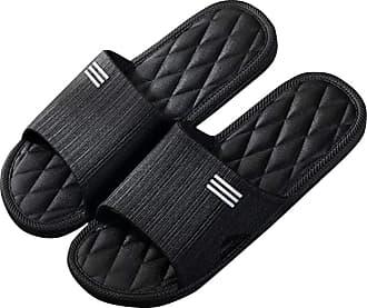 Yidarton Sandal Slipper Anti-Slip Sandals Summer Sandals Bath Slippers Shower Beach & Pool Shoes Rubber Sandal Slipper (Black Men, 10.5)