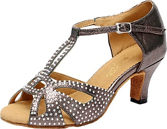 Find Nice Womens Peep Toe T-bar Low Heel Rhinestone Latin Party Suede Sole Dance Shoes 6182 Grey 7.5 UK