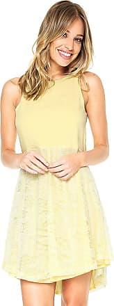 Triton Vestido Triton Curto Renda Amarelo