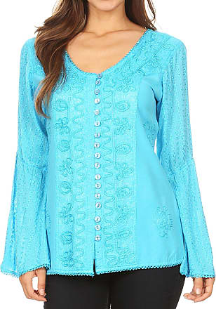 Sakkas 1679 - Salma Womens Button Down Long Sleeve Blouse Top Shirt Stonewashed and Lace - Turquoise - L
