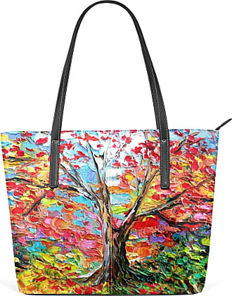 NaiiaN Purse Shopping Tote Bag for Women Girls Ladies Student Horse Leather Colorful Tree Landscape Nature Shoulder Bags Light Weight Strap Handbags